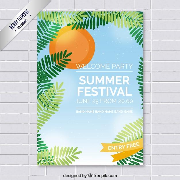 Summer festival poster Premium Vector