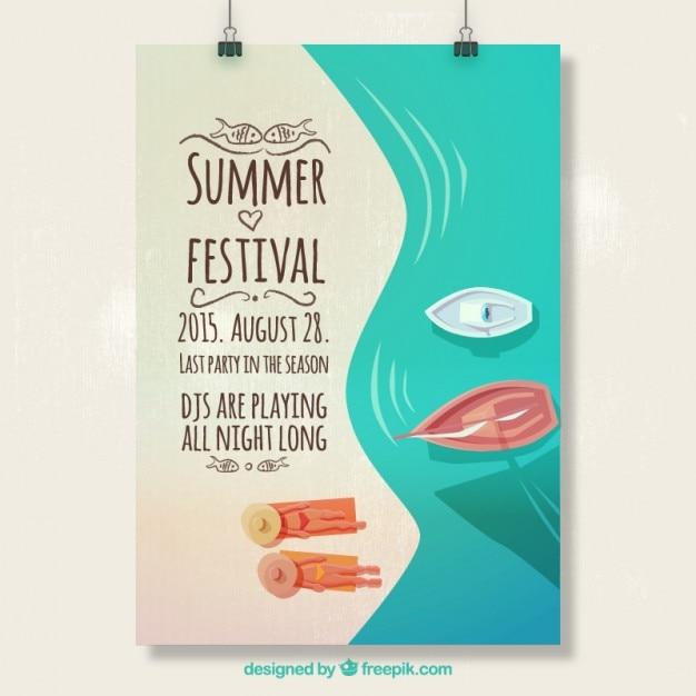 Summer festival poster Free Vector