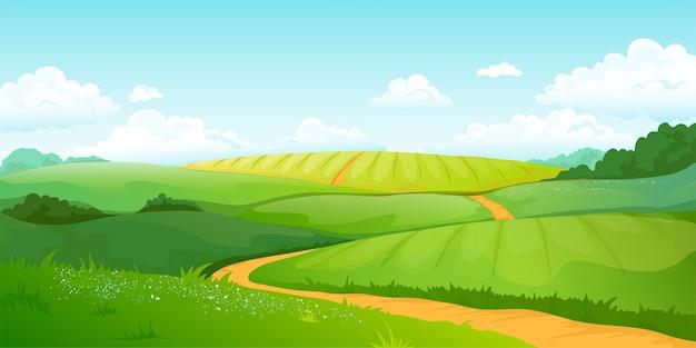 Летние поля пейзаж иллюстрации Premium векторы