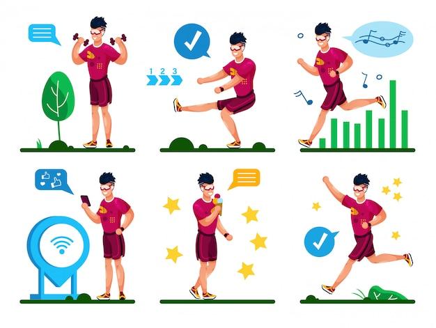 Летние занятия фитнесом flat concepts set Premium векторы