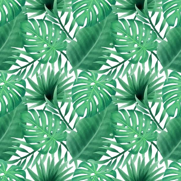 Summer floral watercolor leaves seamless pattern wallpaper Premium Vector