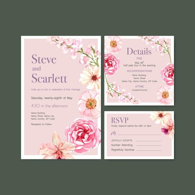 結婚式カードテンプレート水彩ベクトルイラストの夏の花のコンセプトデザイン 無料ベクター