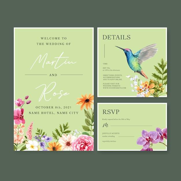 結婚式カードテンプレート水彩画の夏の花のコンセプトデザイン 無料ベクター