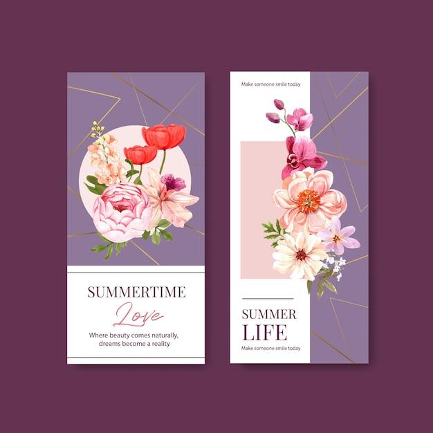 Summer flower flyer template design watercolor Free Vector