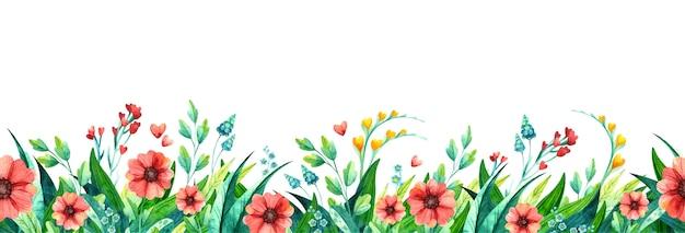 Summer flowers leaves watercolor horizontal background. seasonal plants multicolored foliage. blooming wildflowers, grass. Premium Vector