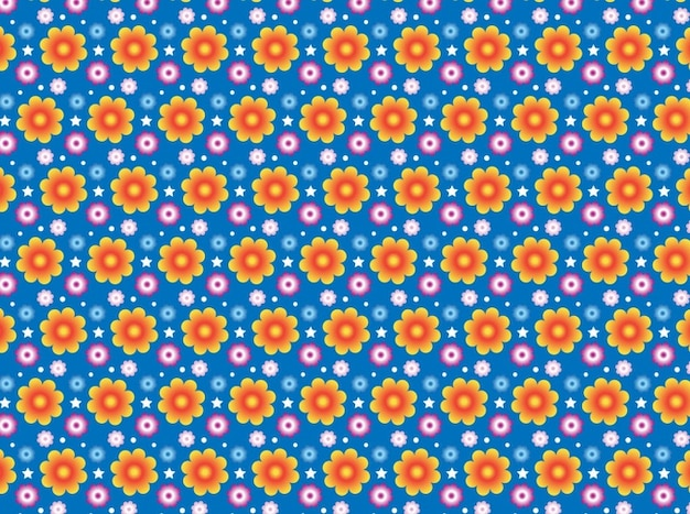 Summer flowers pattern repeating\ background