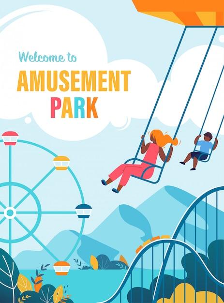 Summer flyer happy children ride on carousel Premium Vector