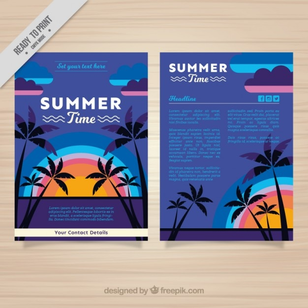 Summer Flyer Template With Palm Trees And Sunset Vector Free Download
