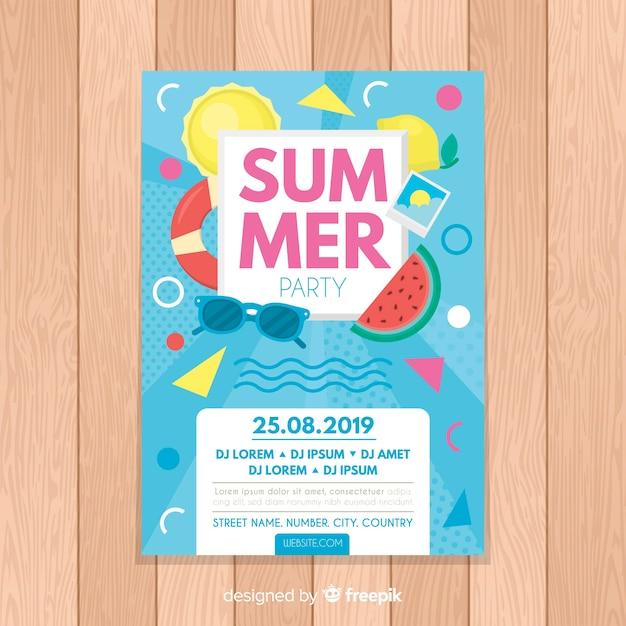Summer flyer Free Vector