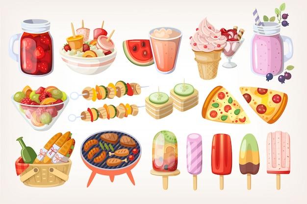 Summer food and desserts Premium Vector