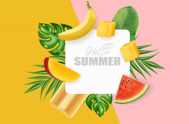 Summer frame with fruits and leaves Premium Vector