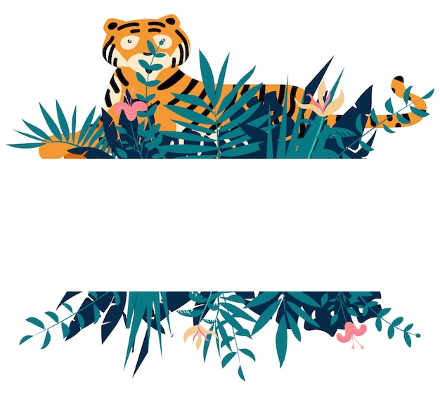 Summer frame with tropical jungle leaves, flowers and tiger Premium Vector