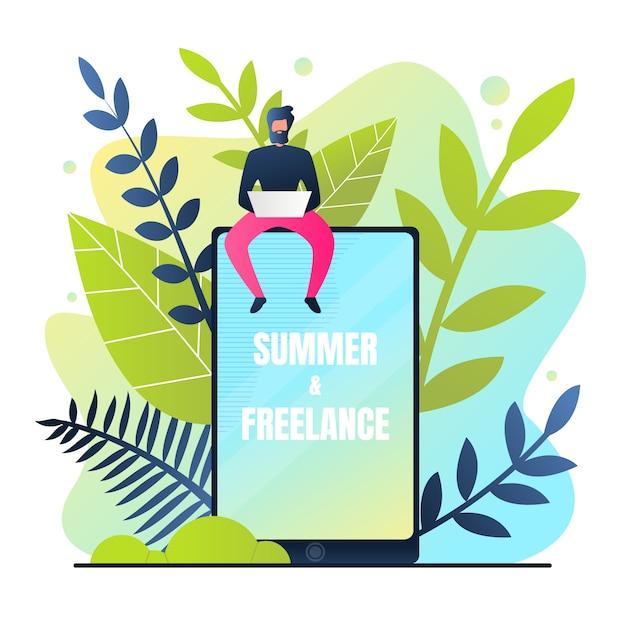 Banner estivo e freelance Vettore gratuito