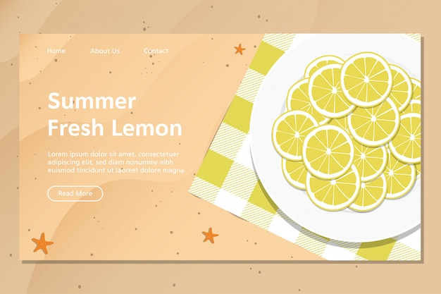 Summer fresh lemon landing page vector Premium Vector