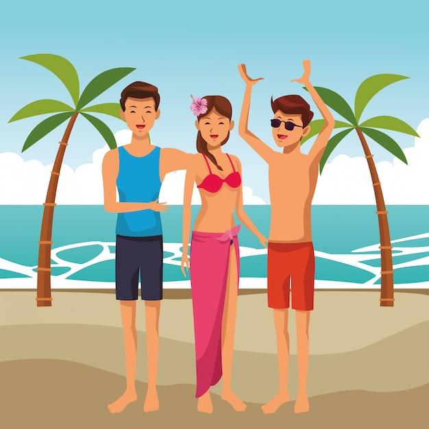 Summer friends enjoying summer Free Vector