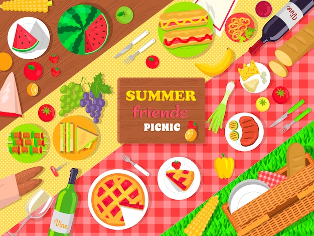 Summer friends picnic poster with delicious food Premium Vector