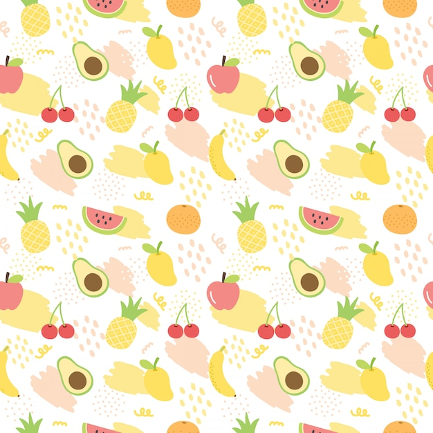 Summer fruit pattern background. Premium Vector