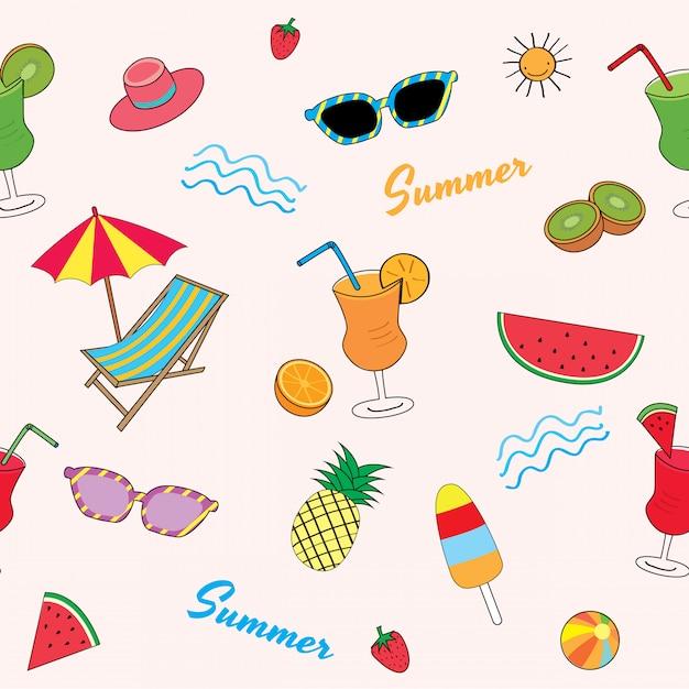 Summer fruit pattern Premium Vector