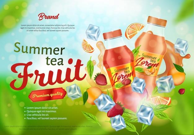 Summer fruit tea advertising poster design, banner Premium Vector
