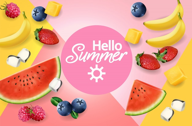 Summer fruits abstract background Premium Vector