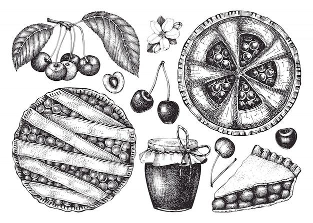 Летние фрукты и ягоды - коллекция эскизов вишни. винтажные иллюстрации ветки вишни, ягод, выпечки торта. ручной обращается элементы летней еды в стиле гравировки. Premium векторы