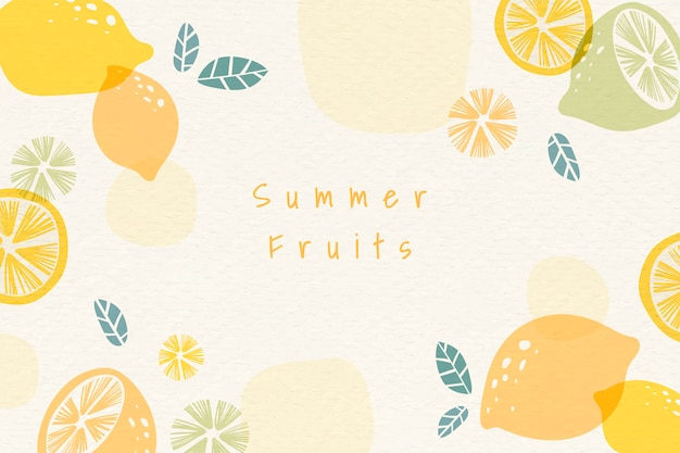 Summer fruits background Free Vector