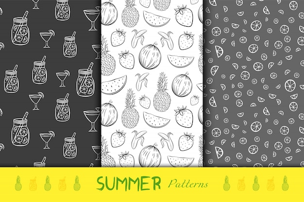 Summer fruits black and white seamless backgrounds Premium Vector