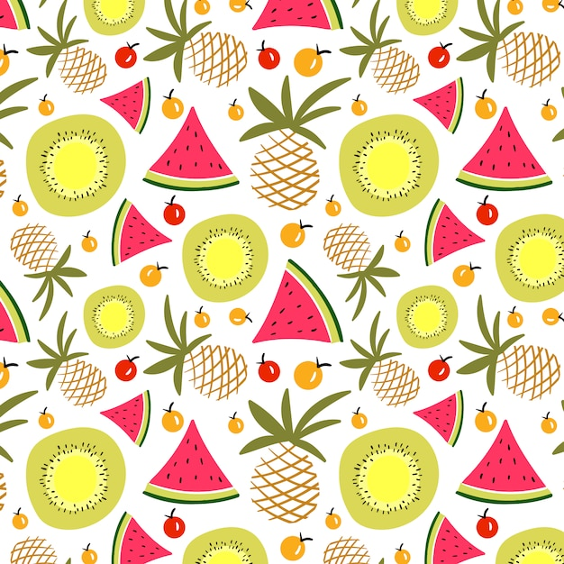 Summer Fruits Pattern Free Vector
