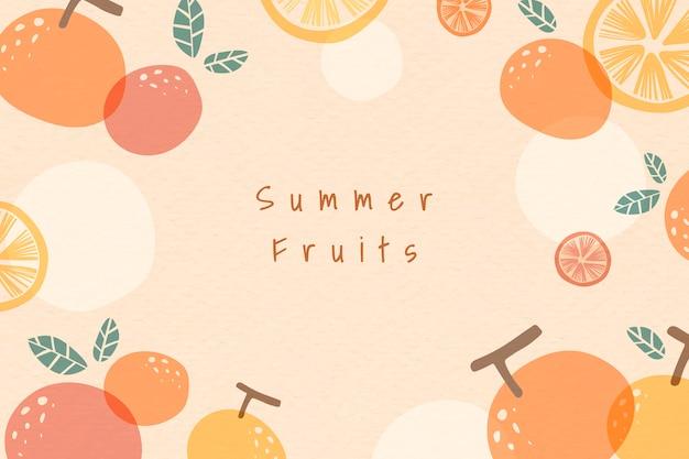 夏のフルーツ柄の背景 無料ベクター