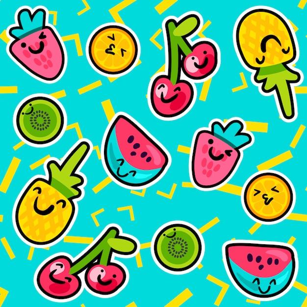 夏の果物のパターン Premiumベクター