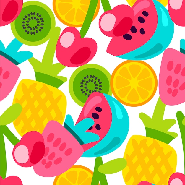 Summer fruits patterns Premium Vector