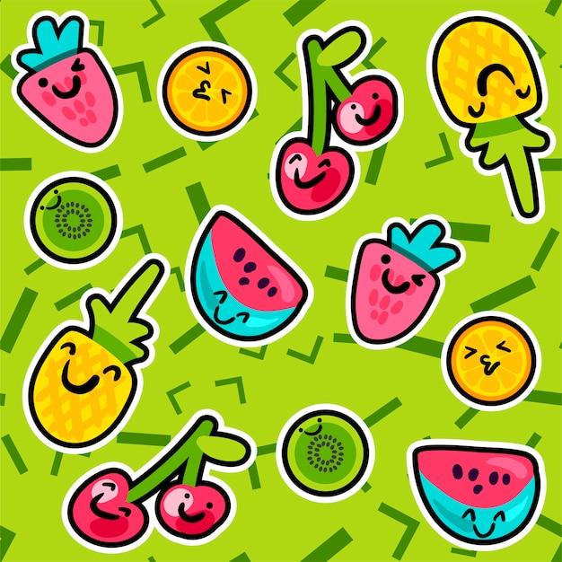 Summer fruits patterns Premium Vector