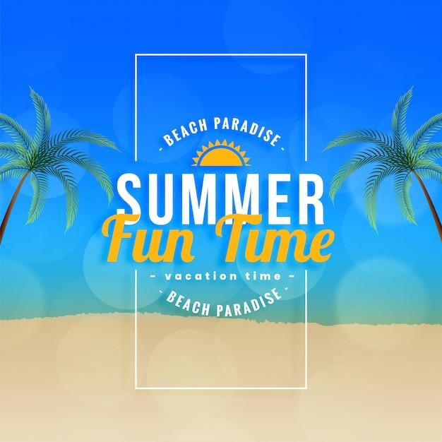 Summer fun time beach paradise background Free Vector