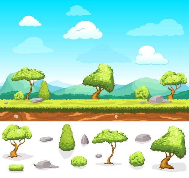 Summer game design landscape Free Vector