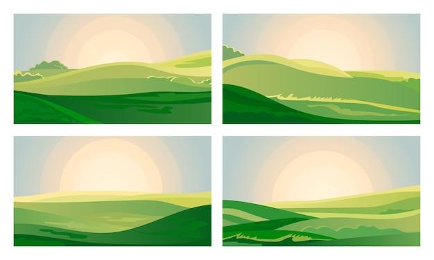 잔디 언덕 위의 여름 녹색 풍경 필드 새벽. 무료 벡터