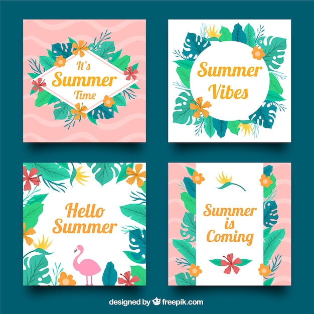 Summer greeting card collection with leaves vector free download summer greeting card collection with leaves free vector m4hsunfo Images