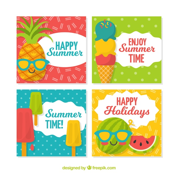 Summer greeting card collection vector free download summer greeting card collection free vector m4hsunfo Images