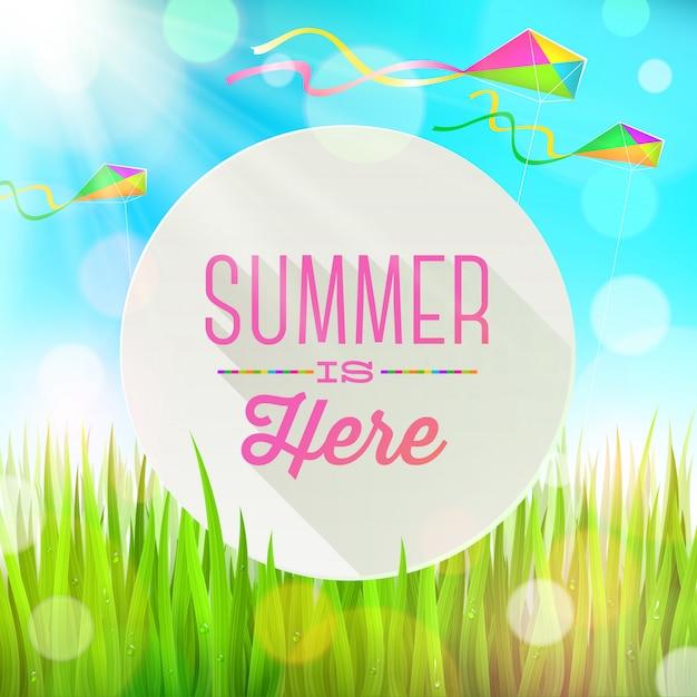 新鮮な草とカラフルな凧のある風景に対するバナーの夏の挨拶 Premiumベクター