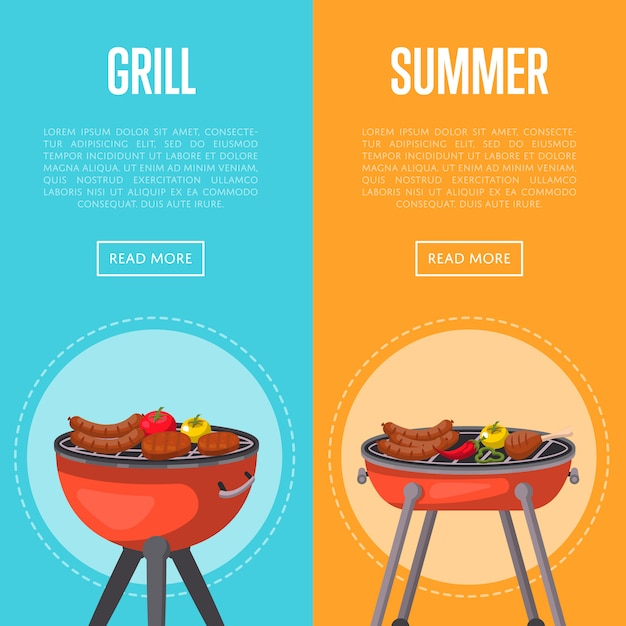 Summer grill party banners with meats on barbecue Premium Vector