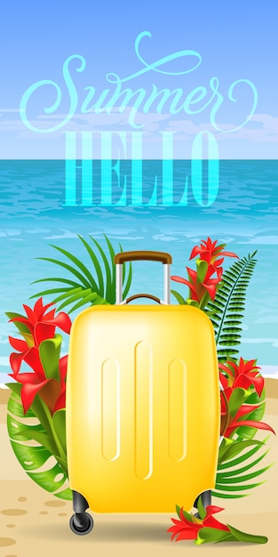 Summer hello banner with palm leaves, red\ flowers, yellow travel case, beach