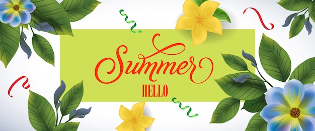 Summer hello lettering in green frame blue and\ yellow flowers and confetti
