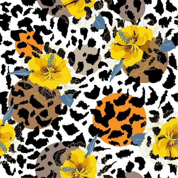 Summer hibiscus seamless pattern Premium Vector