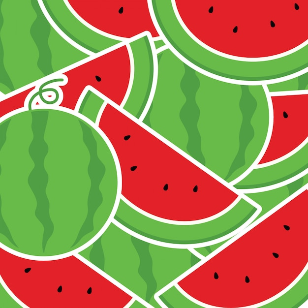 In summer holiday, background from watermelon Premium Vector