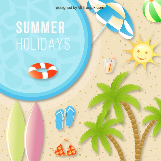 Summer holiday background with beach elements Free Vector