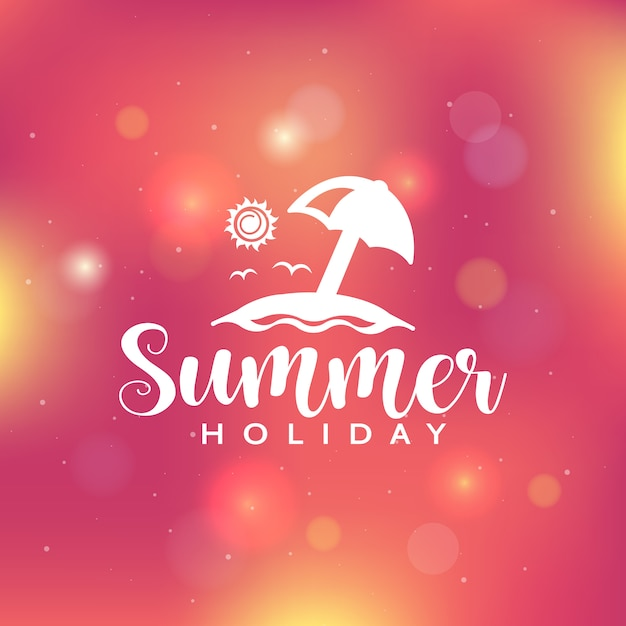 Summer holiday background with bokeh lights Premium Vector