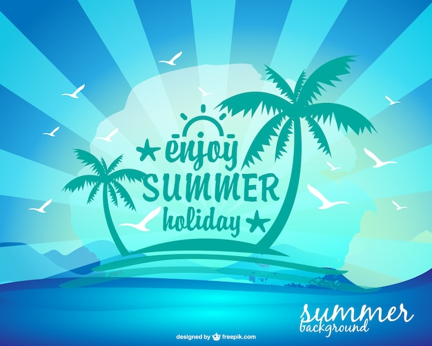 Happy Summer Holidays Background Vector: Summer Holiday Background With An Island And Palm Trees