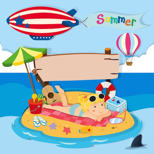 Summer holiday on the beach Free Vector