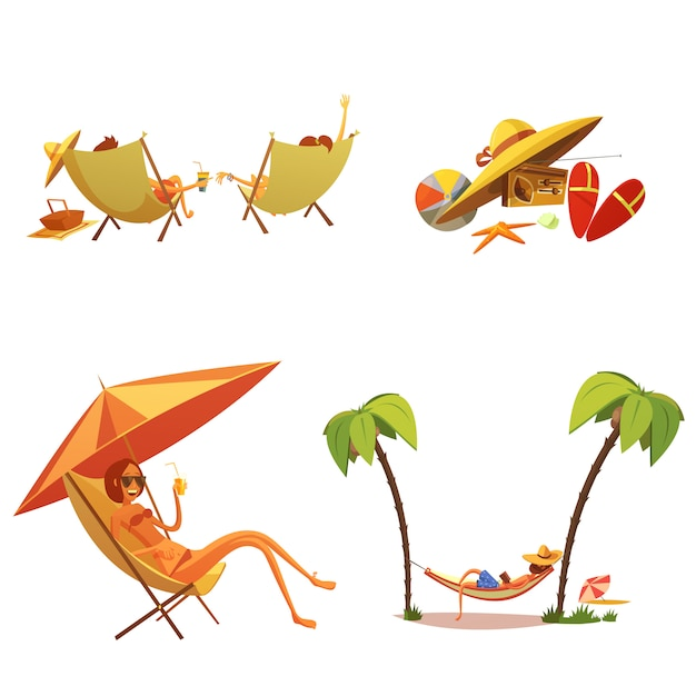 Summer holiday cartoon icons set Free Vector