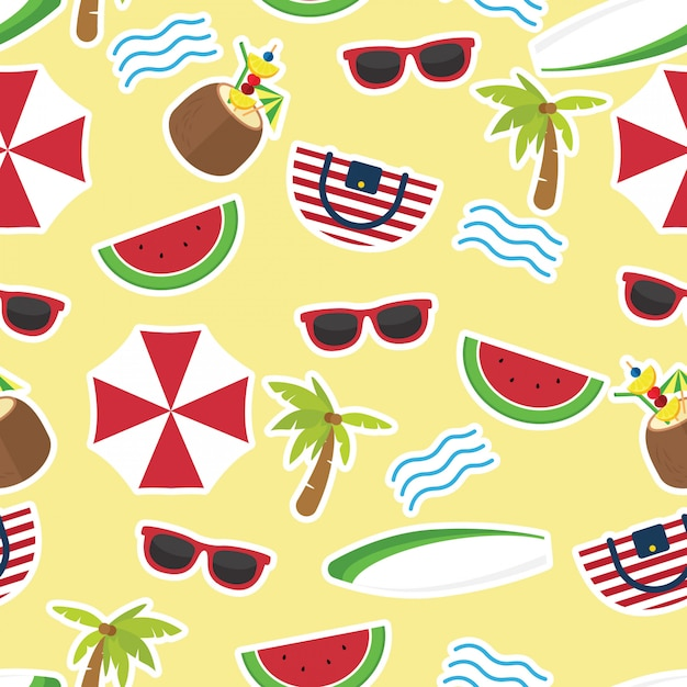 In summer holiday, colorful seamless summer pattern with hand drawn beach elements Premium Vector