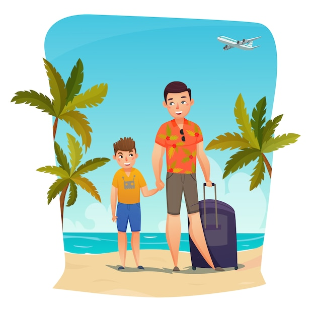 Summer holiday composition Free Vector